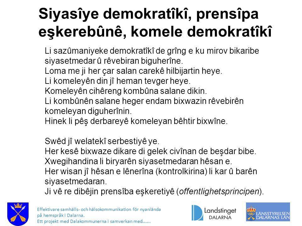 Effektivare samhälls- och hälsokommunikation för nyanlända på hemspråk i Dalarna. Ett projekt med Dalakommunerna i samverkan med……. Siyasîye demokratî