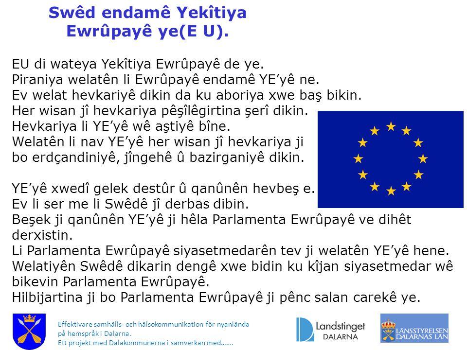 Swêd endamê Yekîtiya Ewrûpayê ye(E U). Effektivare samhälls- och hälsokommunikation för nyanlända på hemspråk i Dalarna. Ett projekt med Dalakommunern