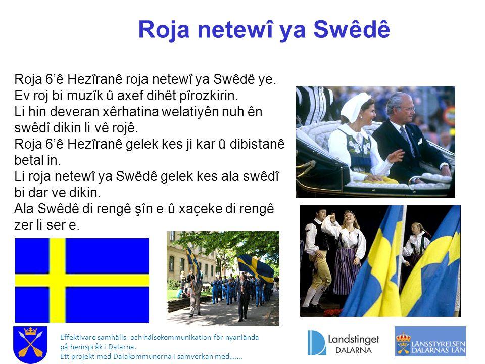 Roja netewî ya Swêdê Roja 6'ê Hezîranê roja netewî ya Swêdê ye. Ev roj bi muzîk û axef dihêt pîrozkirin. Li hin deveran xêrhatina welatiyên nuh ên swê