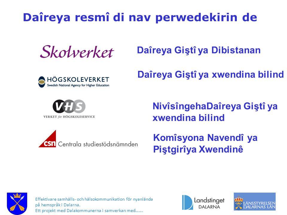 Effektivare samhälls- och hälsokommunikation för nyanlända på hemspråk i Dalarna. Ett projekt med Dalakommunerna i samverkan med……. Daîreya resmî di n
