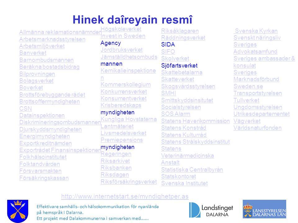 Effektivare samhälls- och hälsokommunikation för nyanlända på hemspråk i Dalarna. Ett projekt med Dalakommunerna i samverkan med……. Högskoleverket Inv
