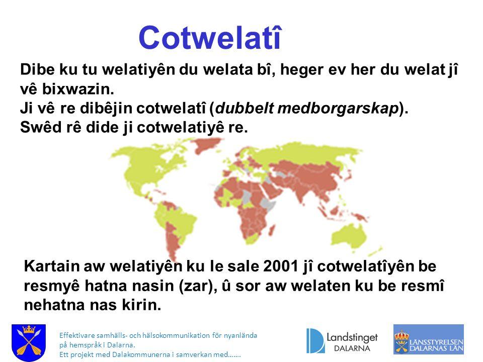 Effektivare samhälls- och hälsokommunikation för nyanlända på hemspråk i Dalarna. Ett projekt med Dalakommunerna i samverkan med……. Cotwelatî Kartain