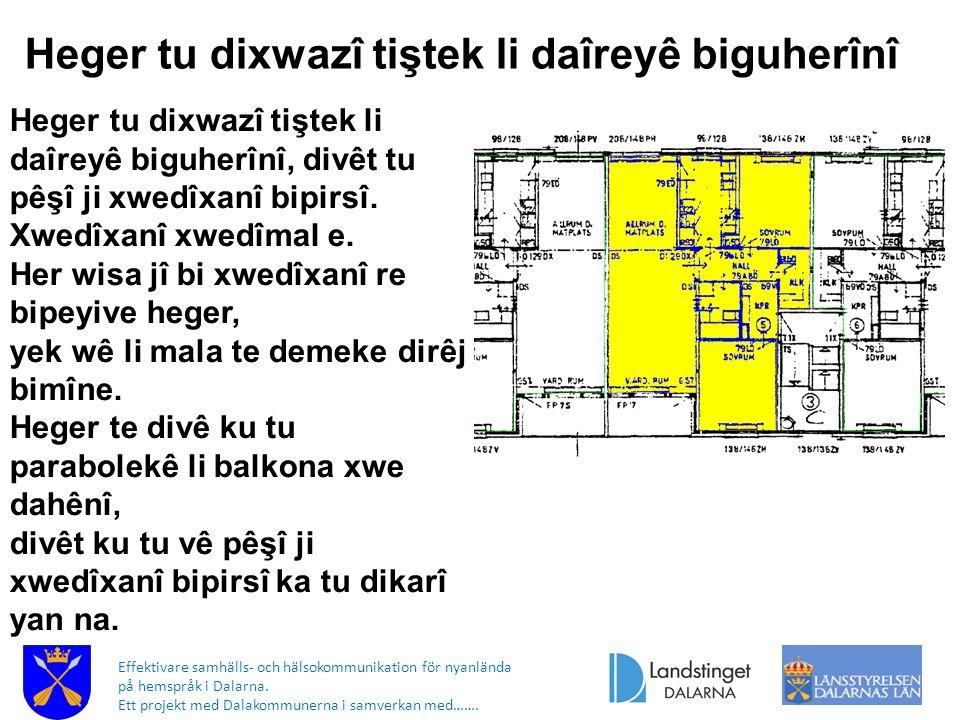 Effektivare samhälls- och hälsokommunikation för nyanlända på hemspråk i Dalarna. Ett projekt med Dalakommunerna i samverkan med……. Heger tu dixwazî t
