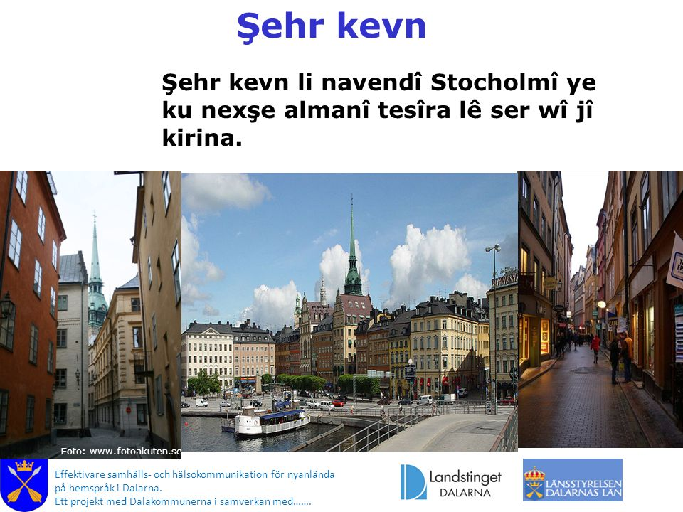 Foto: www.fotoakuten.se Effektivare samhälls- och hälsokommunikation för nyanlända på hemspråk i Dalarna. Ett projekt med Dalakommunerna i samverkan m