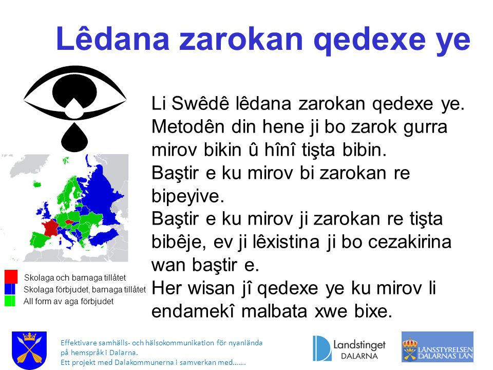 Effektivare samhälls- och hälsokommunikation för nyanlända på hemspråk i Dalarna. Ett projekt med Dalakommunerna i samverkan med……. █▌ Skolaga och bar