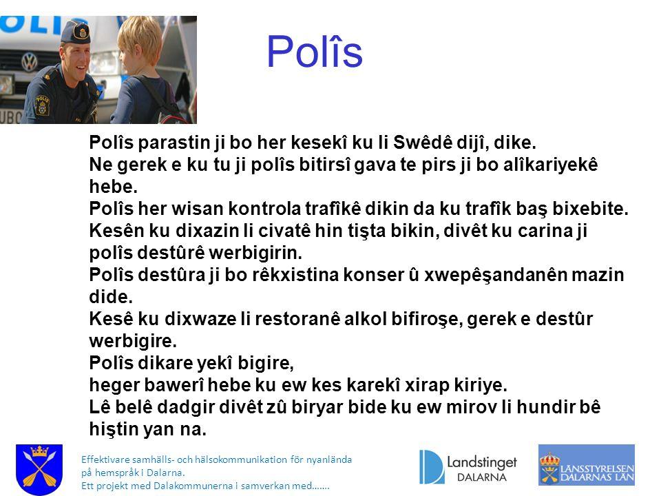 Effektivare samhälls- och hälsokommunikation för nyanlända på hemspråk i Dalarna. Ett projekt med Dalakommunerna i samverkan med……. Polîs Polîs parast