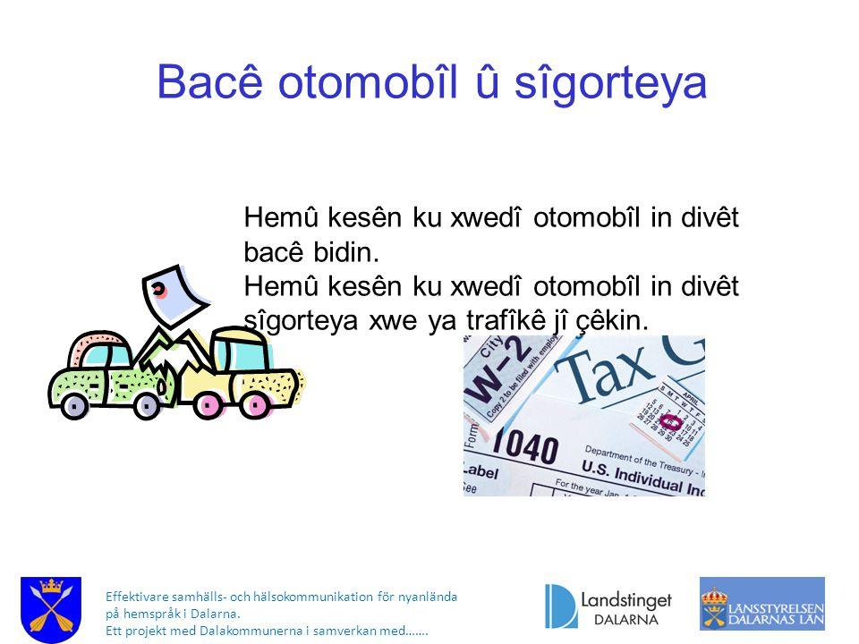 Effektivare samhälls- och hälsokommunikation för nyanlända på hemspråk i Dalarna. Ett projekt med Dalakommunerna i samverkan med……. Bacê otomobîl û sî