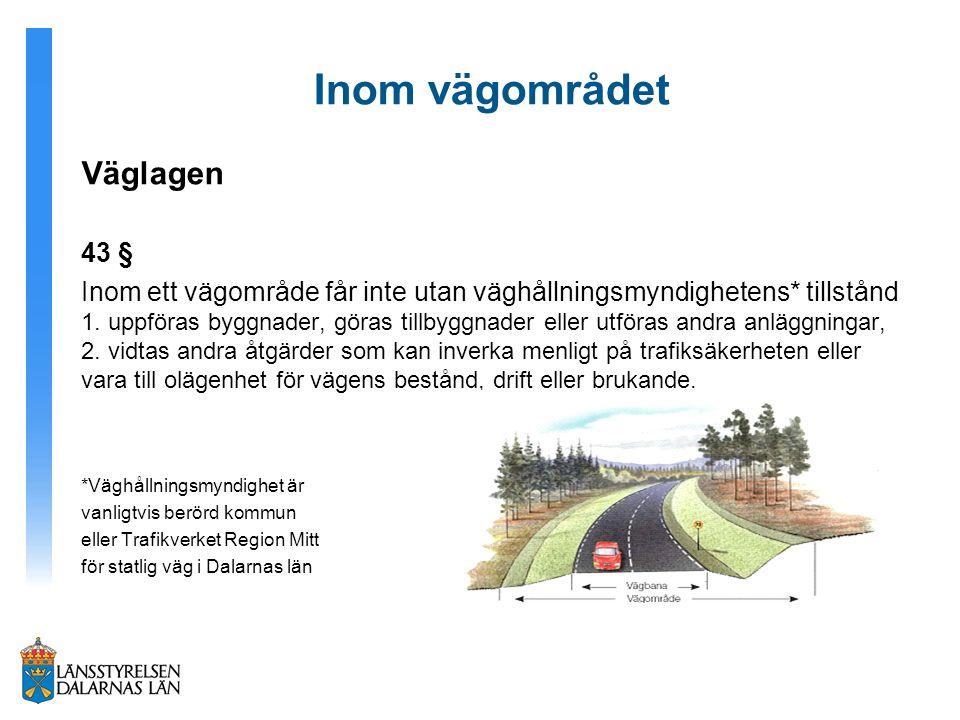 Inom vägområdet Väglagen 43 § Inom ett vägområde får inte utan väghållningsmyndighetens* tillstånd 1. uppföras byggnader, göras tillbyggnader eller ut
