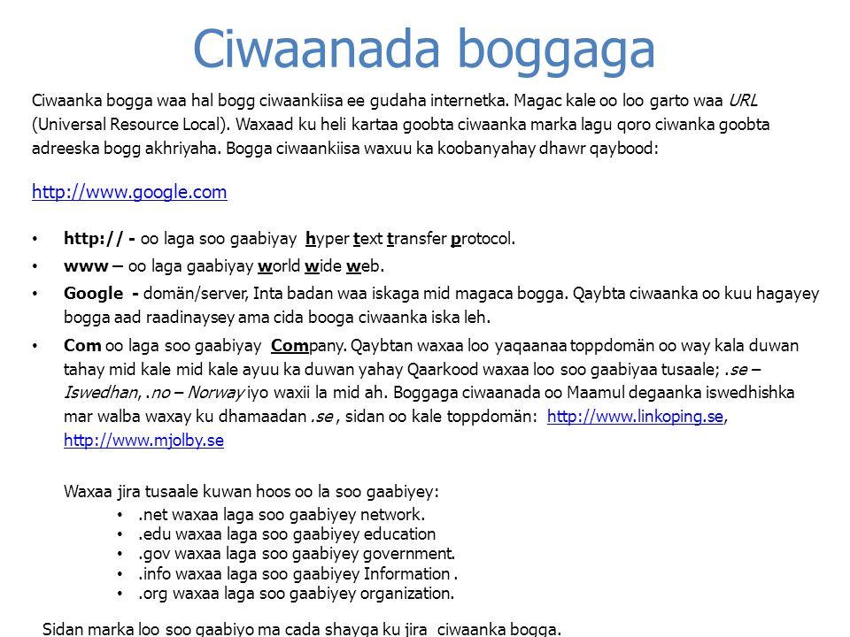 Webbläsarens gränssnitt Vi väljer Internet Explorer eftersom det är den mest använda Gadal Hore Bilawga Ikonka soo saare Garoonka qoraalka Boggaga loogu jecelyahay Garoonka amrka Raadi Safka buga yar Garoonka ciwanka