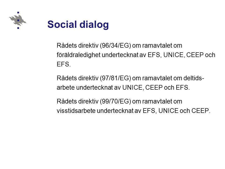 Social dialog Rådets direktiv (96/34/EG) om ramavtalet om föräldraledighet undertecknat av EFS, UNICE, CEEP och EFS.