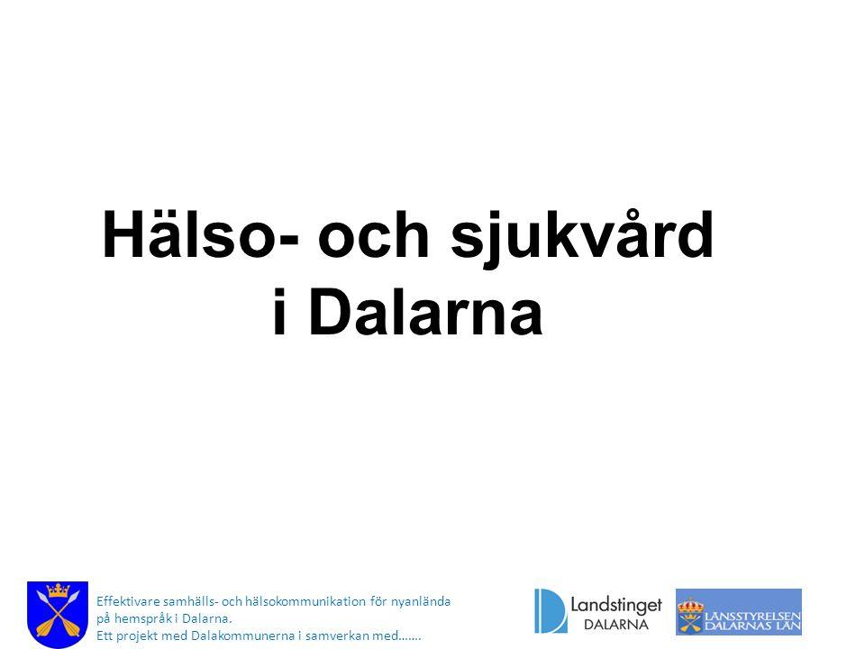 Hälso- och sjukvård i Dalarna Effektivare samhälls- och hälsokommunikation för nyanlända på hemspråk i Dalarna. Ett projekt med Dalakommunerna i samve