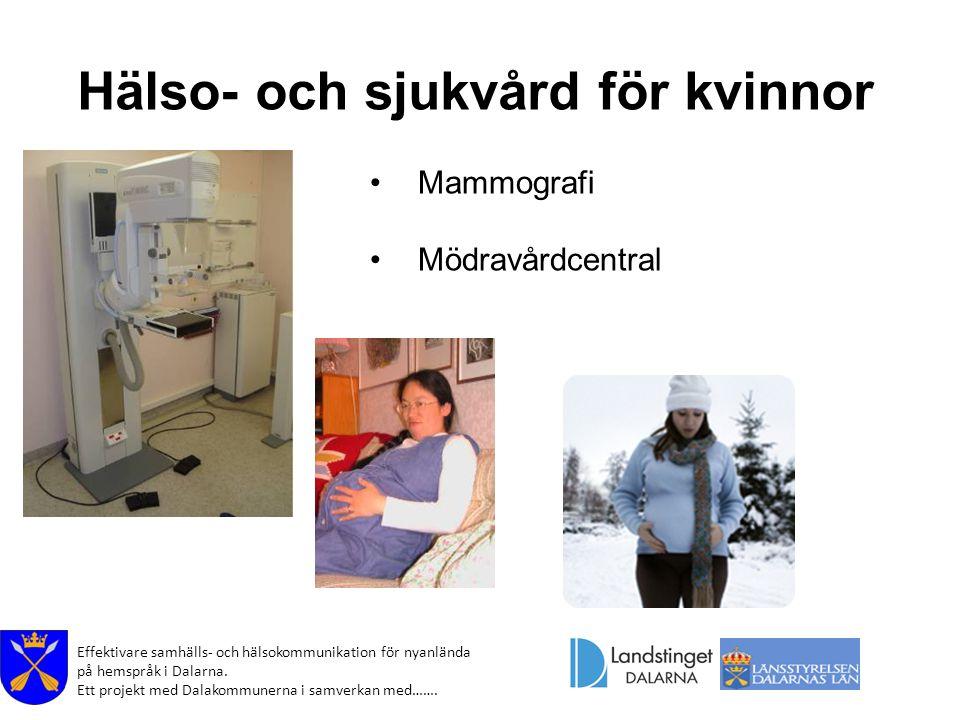 Effektivare samhälls- och hälsokommunikation för nyanlända på hemspråk i Dalarna. Ett projekt med Dalakommunerna i samverkan med……. Hälso- och sjukvår