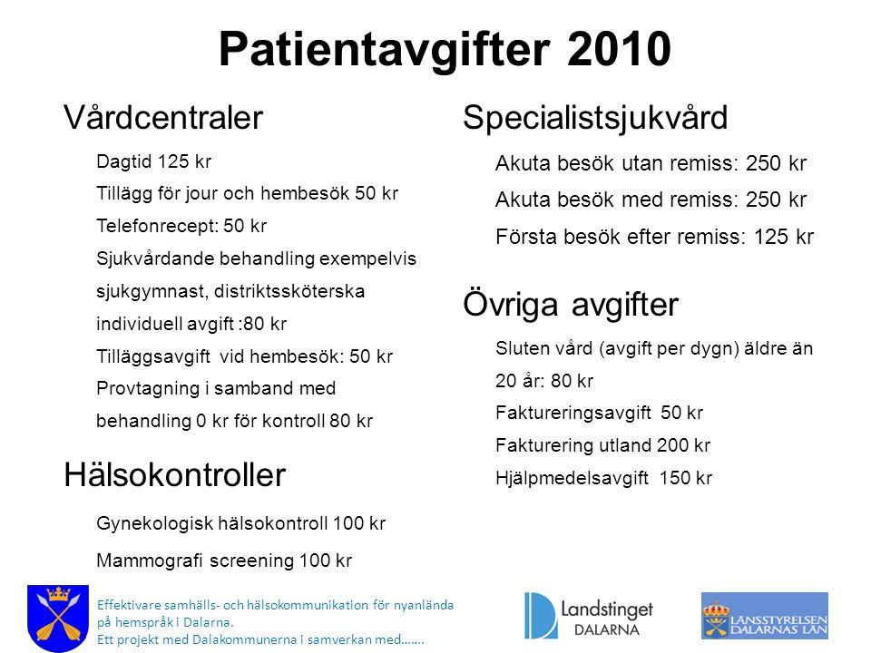Patientavgifter 2010 Vårdcentraler Dagtid 125 kr Tillägg för jour och hembesök 50 kr Telefonrecept: 50 kr Sjukvårdande behandling exempelvis sjukgymna