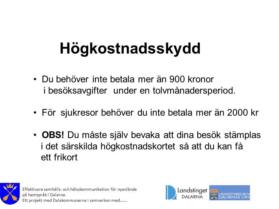 Effektivare samhälls- och hälsokommunikation för nyanlända på hemspråk i Dalarna. Ett projekt med Dalakommunerna i samverkan med……. Högkostnadsskydd D