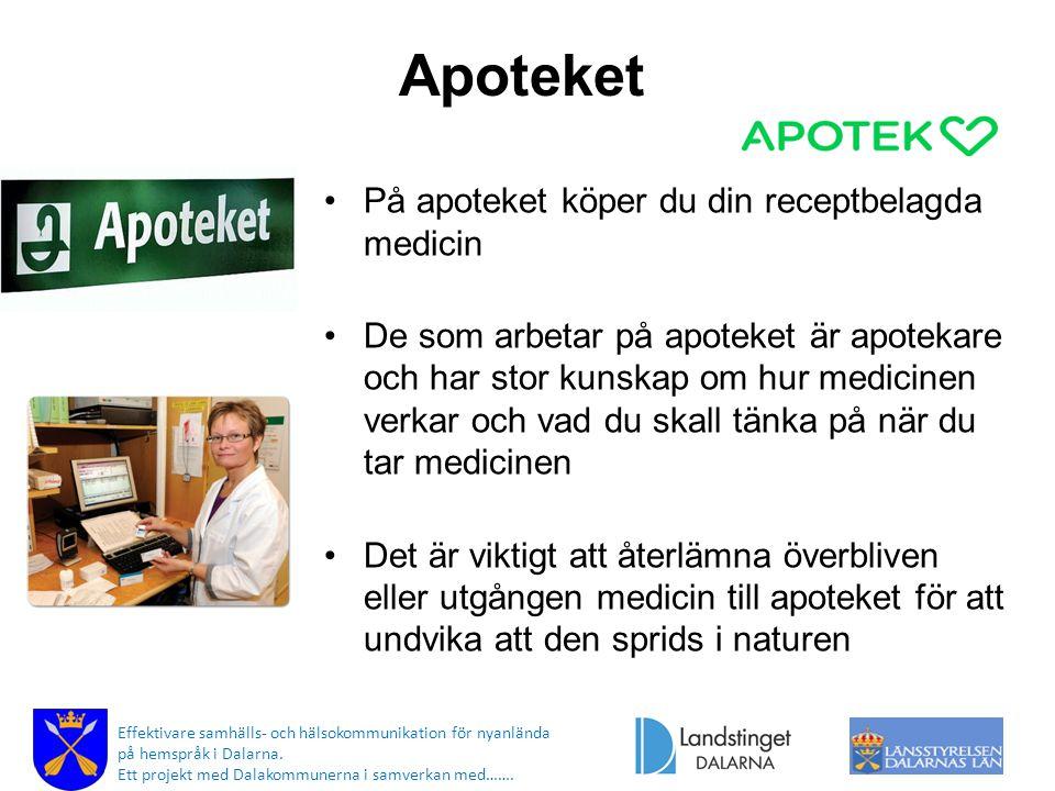 Apoteket På apoteket köper du din receptbelagda medicin De som arbetar på apoteket är apotekare och har stor kunskap om hur medicinen verkar och vad d