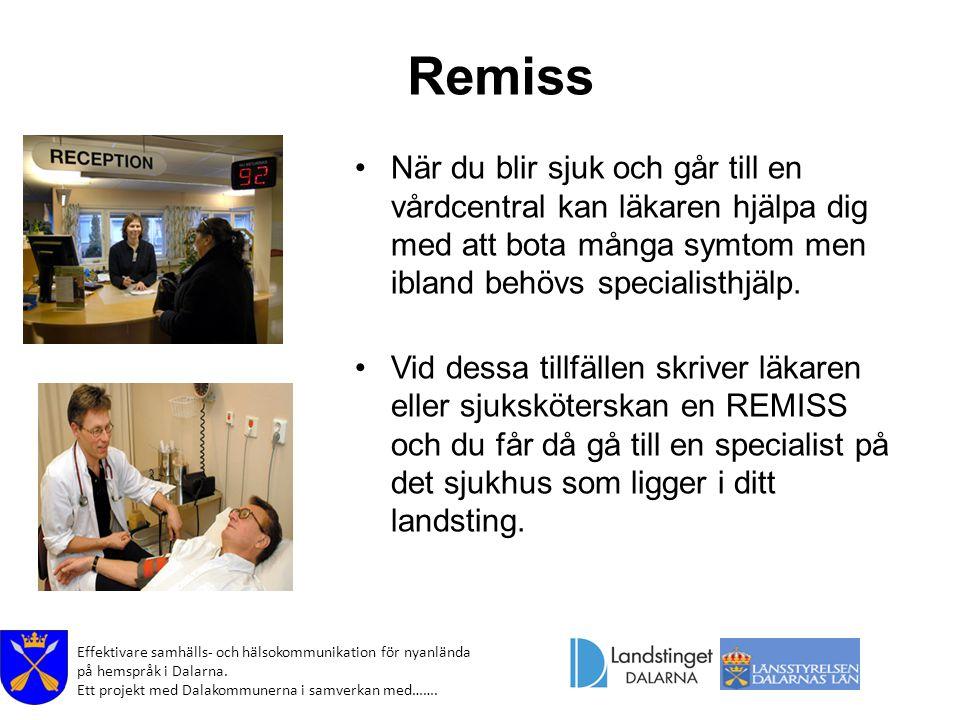 Effektivare samhälls- och hälsokommunikation för nyanlända på hemspråk i Dalarna. Ett projekt med Dalakommunerna i samverkan med……. Remiss När du blir