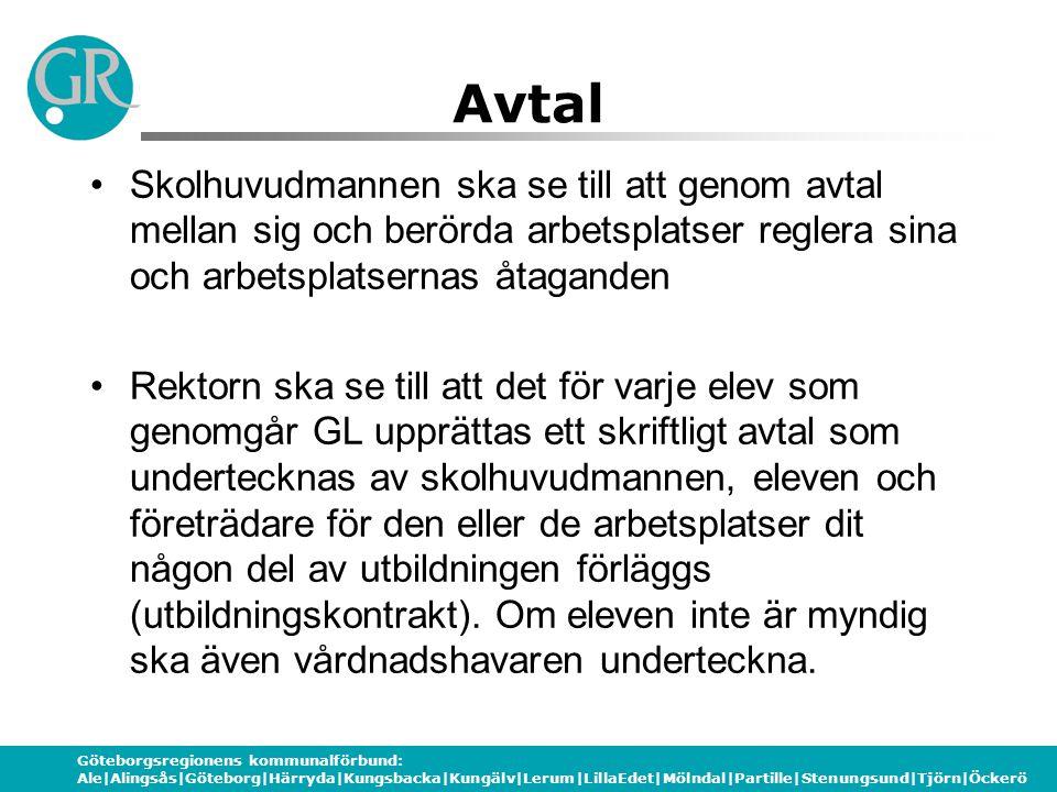 Göteborgsregionens kommunalförbund: Ale|Alingsås|Göteborg|Härryda|Kungsbacka|Kungälv|Lerum|LillaEdet|Mölndal|Partille|Stenungsund|Tjörn|Öckerö Avtal S