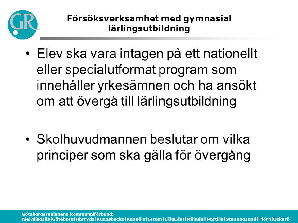 Göteborgsregionens kommunalförbund: Ale|Alingsås|Göteborg|Härryda|Kungsbacka|Kungälv|Lerum|LillaEdet|Mölndal|Partille|Stenungsund|Tjörn|Öckerö Försöks