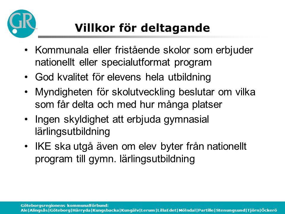 Göteborgsregionens kommunalförbund: Ale|Alingsås|Göteborg|Härryda|Kungsbacka|Kungälv|Lerum|LillaEdet|Mölndal|Partille|Stenungsund|Tjörn|Öckerö Villkor