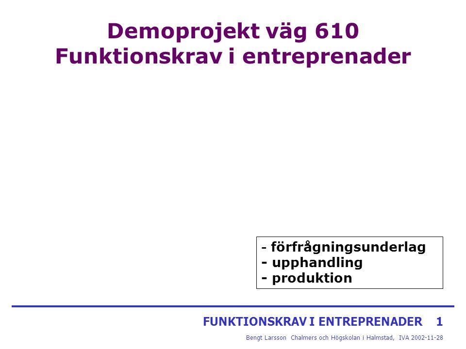 FUNKTIONSKRAV I ENTREPRENADER1 Bengt Larsson Chalmers och Högskolan i Halmstad, IVA 2002-11-28 Demoprojekt väg 610 Funktionskrav i entreprenader - för