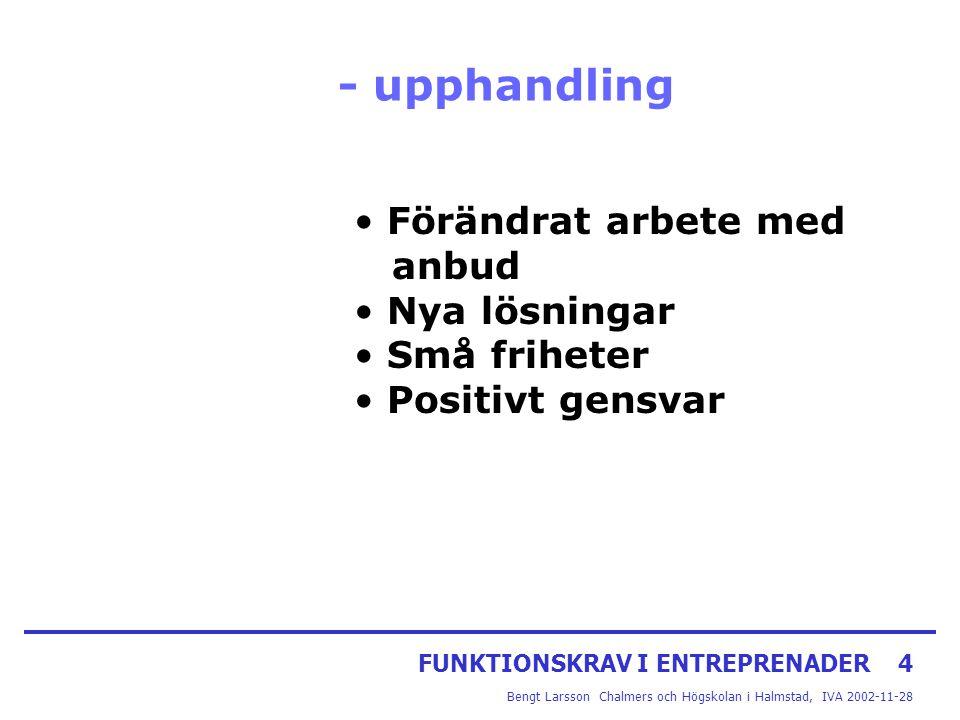 FUNKTIONSKRAV I ENTREPRENADER4 Bengt Larsson Chalmers och Högskolan i Halmstad, IVA 2002-11-28 - upphandling Förändrat arbete med anbud Nya lösningar