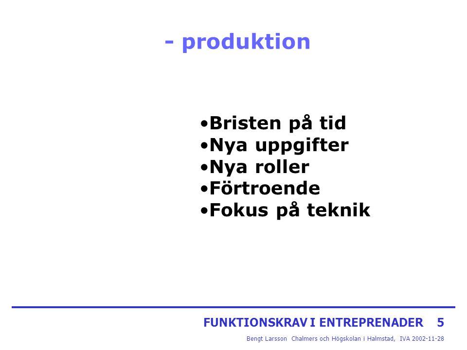 FUNKTIONSKRAV I ENTREPRENADER5 Bengt Larsson Chalmers och Högskolan i Halmstad, IVA 2002-11-28 - produktion Bristen på tid Nya uppgifter Nya roller Fö