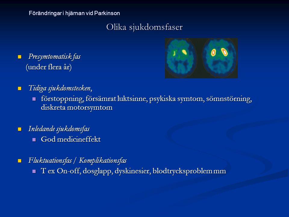 Olika sjukdomsfaser Presymtomatisk fas Presymtomatisk fas (under flera år) (under flera år) Tidiga sjukdomstecken, Tidiga sjukdomstecken, förstoppning