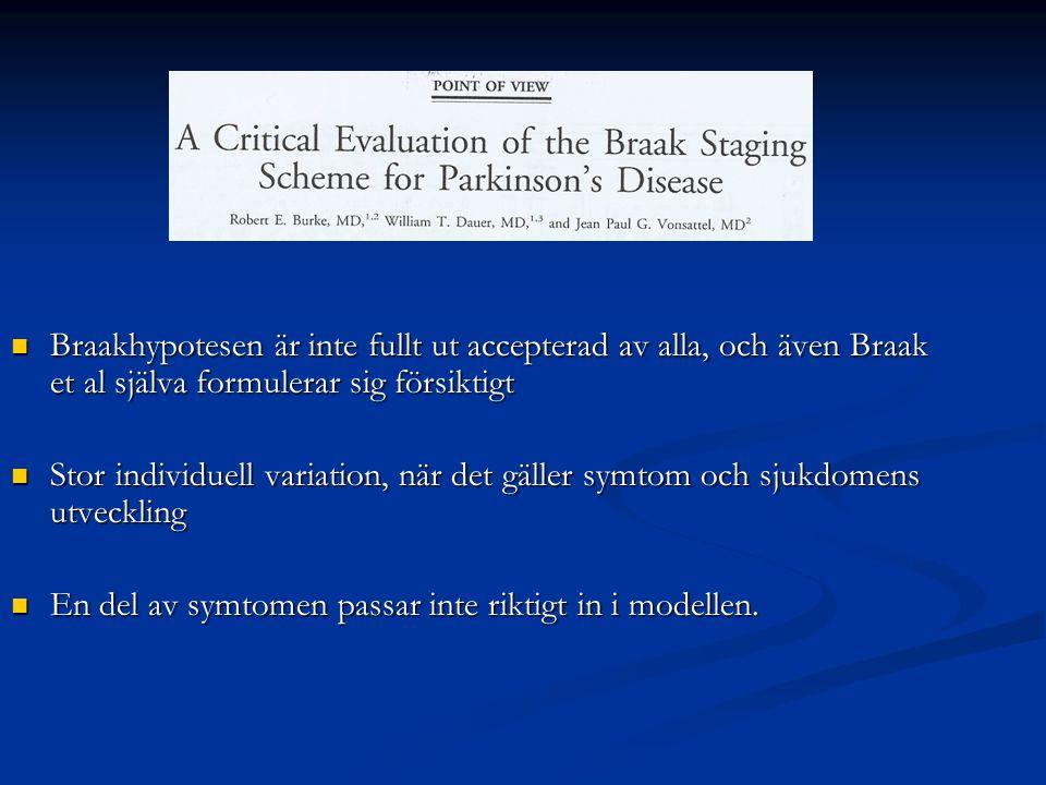 Braakhypotesen är inte fullt ut accepterad av alla, och även Braak et al själva formulerar sig försiktigt Braakhypotesen är inte fullt ut accepterad a