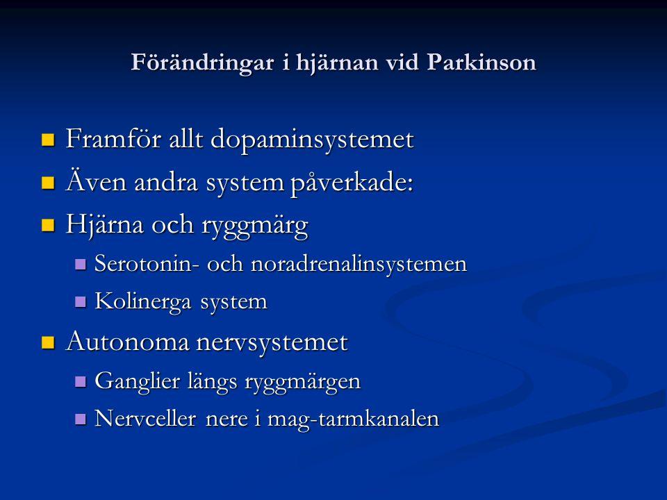 Förändringar i hjärnan vid Parkinson Framför allt dopaminsystemet Framför allt dopaminsystemet Även andra system påverkade: Även andra system påverkad