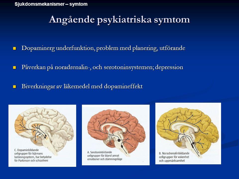 Angående psykiatriska symtom Dopaminerg underfunktion, problem med planering, utförande Dopaminerg underfunktion, problem med planering, utförande Påv