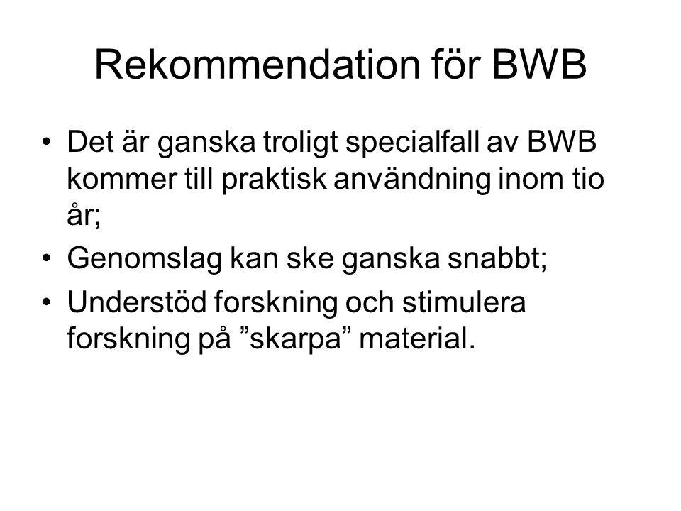 Rekommendation för BWB Det är ganska troligt specialfall av BWB kommer till praktisk användning inom tio år; Genomslag kan ske ganska snabbt; Understöd forskning och stimulera forskning på skarpa material.