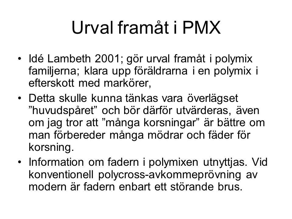 PMX-breeding; förslag till design Indela en bpop i 5 avdelningar; Från en avdelning väljs 50 mödrar som ympas och från en annan 25 fäder som skördas på pollen till en pollenmix; Polycross, nytt fältförsök; Fastställ fäder till lovande träd i fältförsöket; Välj 50 till mödrar och 25 till fäder.
