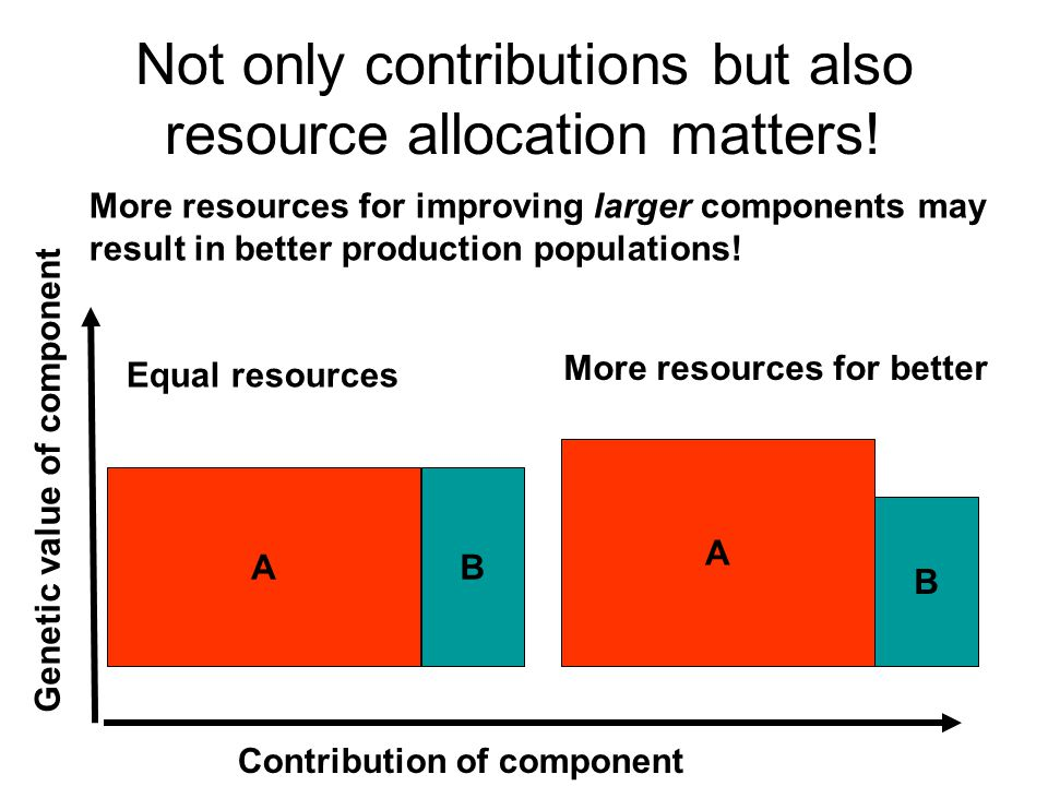 Genetic value of component Contribution of component AB Equal resources More resources for improving larger components may result in better production populations.