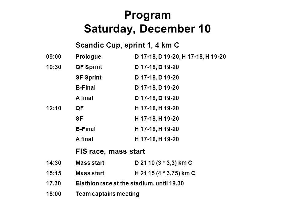 Program Sunday, December 11 09:30 Little Ostersund Games Interval start, 0.5 - 5, 0 km F D / H 2-8, D / H 9, D / H 10, D / H 11, D / H 12, D / R 13-14, D / H 15-16 13:00 Scandic Cup Interval start D 17-18 5 (2 * 2,5) km F D 19-20 5 (2 * 2,5) km F H 17-18 10 (3 * 3,3) km F H 19-20 10 (3 * 3,3) km F 14:30 FIS raceinterval start D 21 10 (3 * 3,3) km F H 2115 (4 * 4,0) km F
