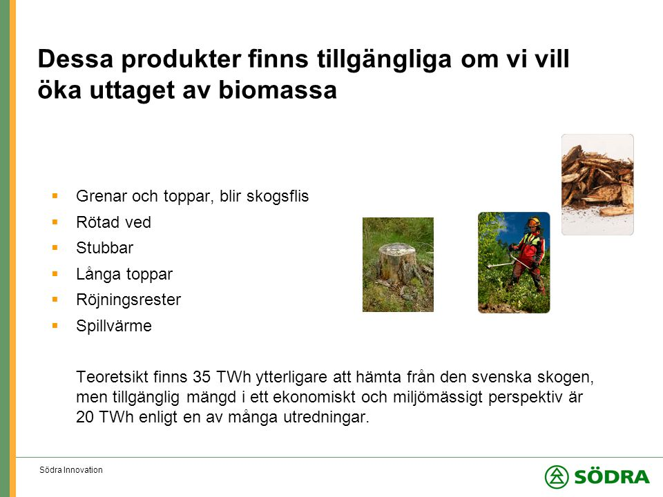 Södra Innovation Dessa produkter finns tillgängliga om vi vill öka uttaget av biomassa  Grenar och toppar, blir skogsflis  Rötad ved  Stubbar  Långa toppar  Röjningsrester  Spillvärme Teoretsikt finns 35 TWh ytterligare att hämta från den svenska skogen, men tillgänglig mängd i ett ekonomiskt och miljömässigt perspektiv är 20 TWh enligt en av många utredningar.