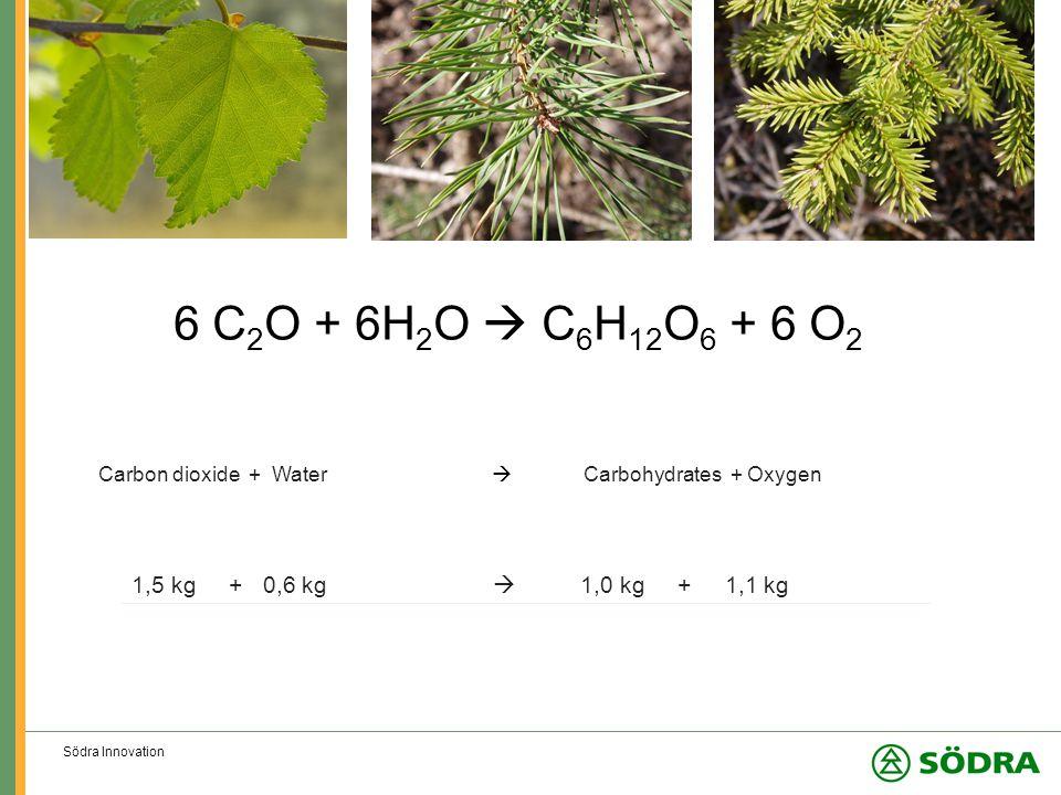 Södra Innovation 6 C 2 O + 6H 2 O  C 6 H 12 O 6 + 6 O 2 Carbon dioxide + Water  Carbohydrates + Oxygen 1,5 kg + 0,6 kg  1,0 kg + 1,1 kg