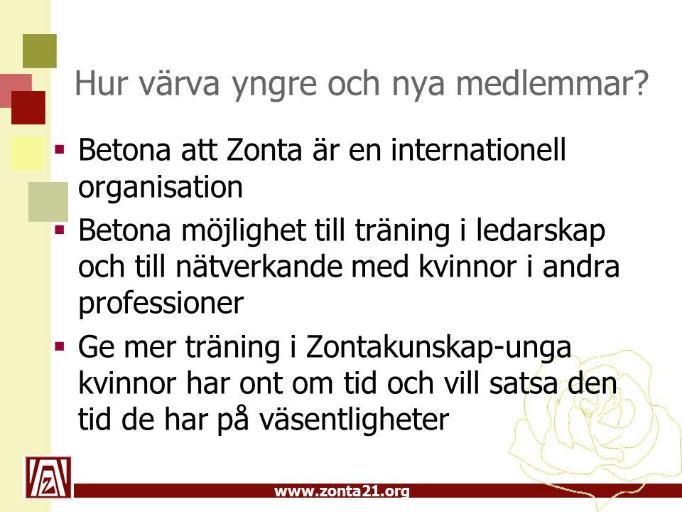 www.zonta21.org Hur värva yngre och nya medlemmar.