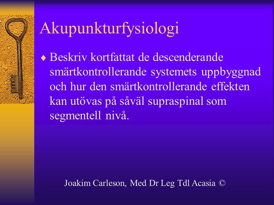 Akupunkturfysiologi  Beskriv kortfattat de descenderande smärtkontrollerande systemets uppbyggnad och hur den smärtkontrollerande effekten kan utövas