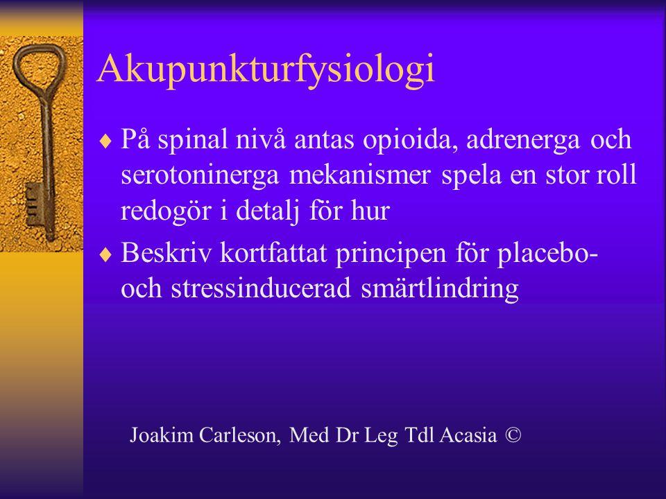 Akupunkturfysiologi  På spinal nivå antas opioida, adrenerga och serotoninerga mekanismer spela en stor roll redogör i detalj för hur  Beskriv kortf