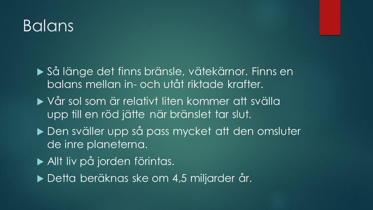 Balans  Så länge det finns bränsle, vätekärnor.