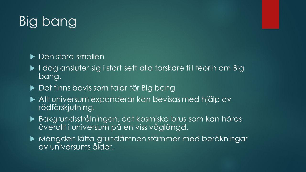 Big bang  Den stora smällen  I dag ansluter sig i stort sett alla forskare till teorin om Big bang.