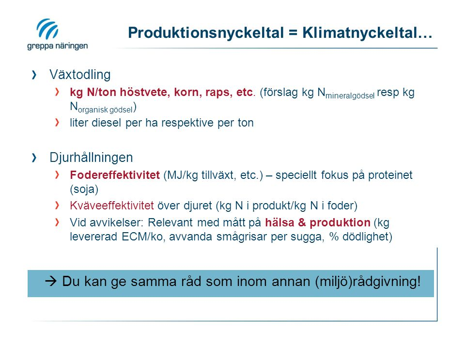 Produktionsnyckeltal = Klimatnyckeltal… Växtodling kg N/ton höstvete, korn, raps, etc.