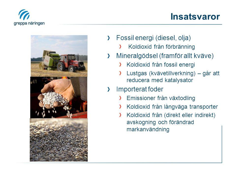 Insatsvaror Fossil energi (diesel, olja) Koldioxid från förbränning Mineralgödsel (framför allt kväve) Koldioxid från fossil energi Lustgas (kvävetillverkning) – går att reducera med katalysator Importerat foder Emissioner från växtodling Koldioxid från långväga transporter Koldioxid från (direkt eller indirekt) avskogning och förändrad markanvändning