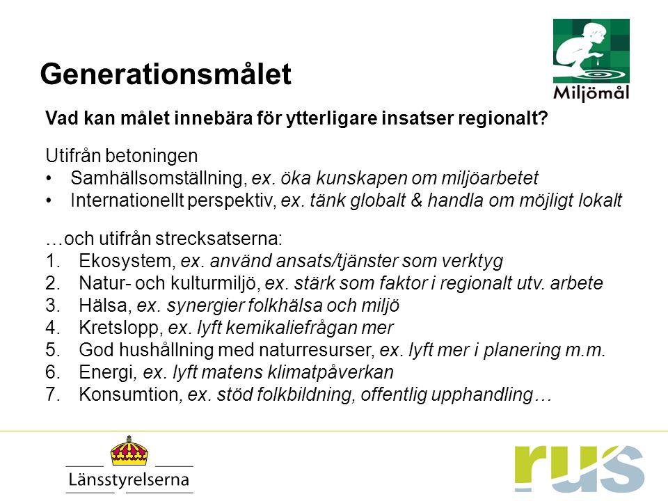 Generationsmålet Vad kan målet innebära för ytterligare insatser regionalt? Utifrån betoningen Samhällsomställning, ex. öka kunskapen om miljöarbetet