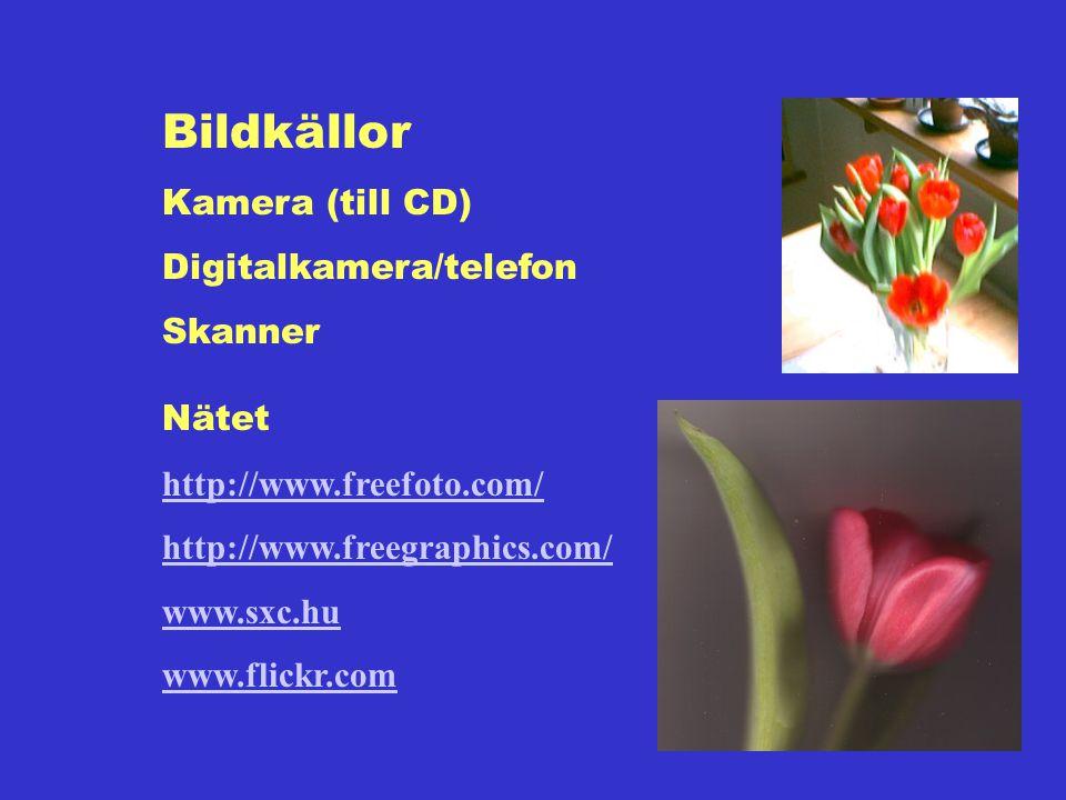Bildkällor Kamera (till CD) Digitalkamera/telefon Skanner Nätet http://www.freefoto.com/ http://www.freegraphics.com/ www.sxc.hu www.flickr.com
