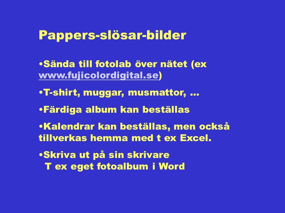 Pappers-slösar-bilder Sända till fotolab över nätet (ex www.fujicolordigital.se) www.fujicolordigital.se T-shirt, muggar, musmattor, … Färdiga album kan beställas Kalendrar kan beställas, men också tillverkas hemma med t ex Excel.