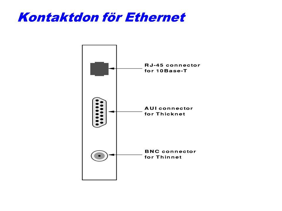 Kabeltyper för Ethernet VIKTIGT! q10BASE5=Tjock Ethernet, 10Mbps, 500m avstånd, koaxial. q10BASE2=Tunn Ethernet, 10Mbps, 200m, koaxial. q10BASE-T, 10M