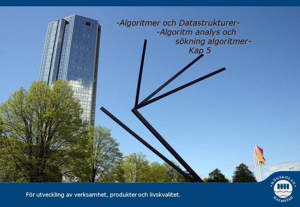 För utveckling av verksamhet, produkter och livskvalitet. -Algoritmer och Datastrukturer- -Algoritm analys och sökning algoritmer- Kap 5 -Algoritmer o
