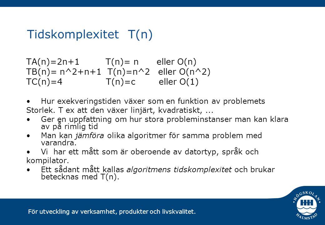 För utveckling av verksamhet, produkter och livskvalitet. Tidskomplexitet T(n) TA(n)=2n+1 T(n)= n eller O(n) TB(n)= n^2+n+1 T(n)=n^2 eller O(n^2) TC(n