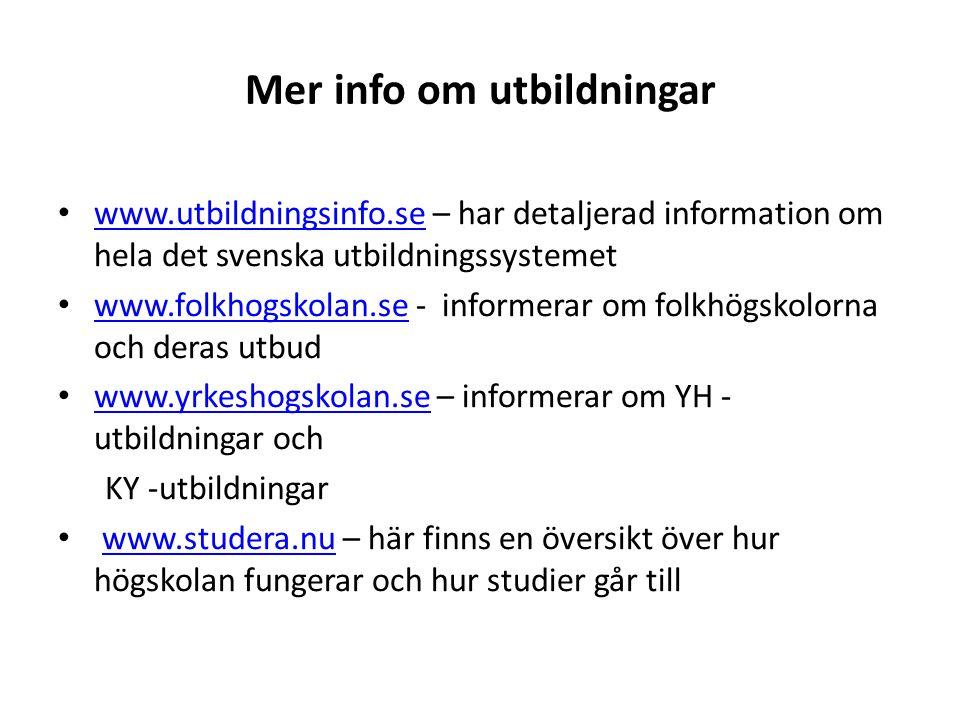 Mer info om utbildningar www.utbildningsinfo.se – har detaljerad information om hela det svenska utbildningssystemet www.utbildningsinfo.se www.folkho